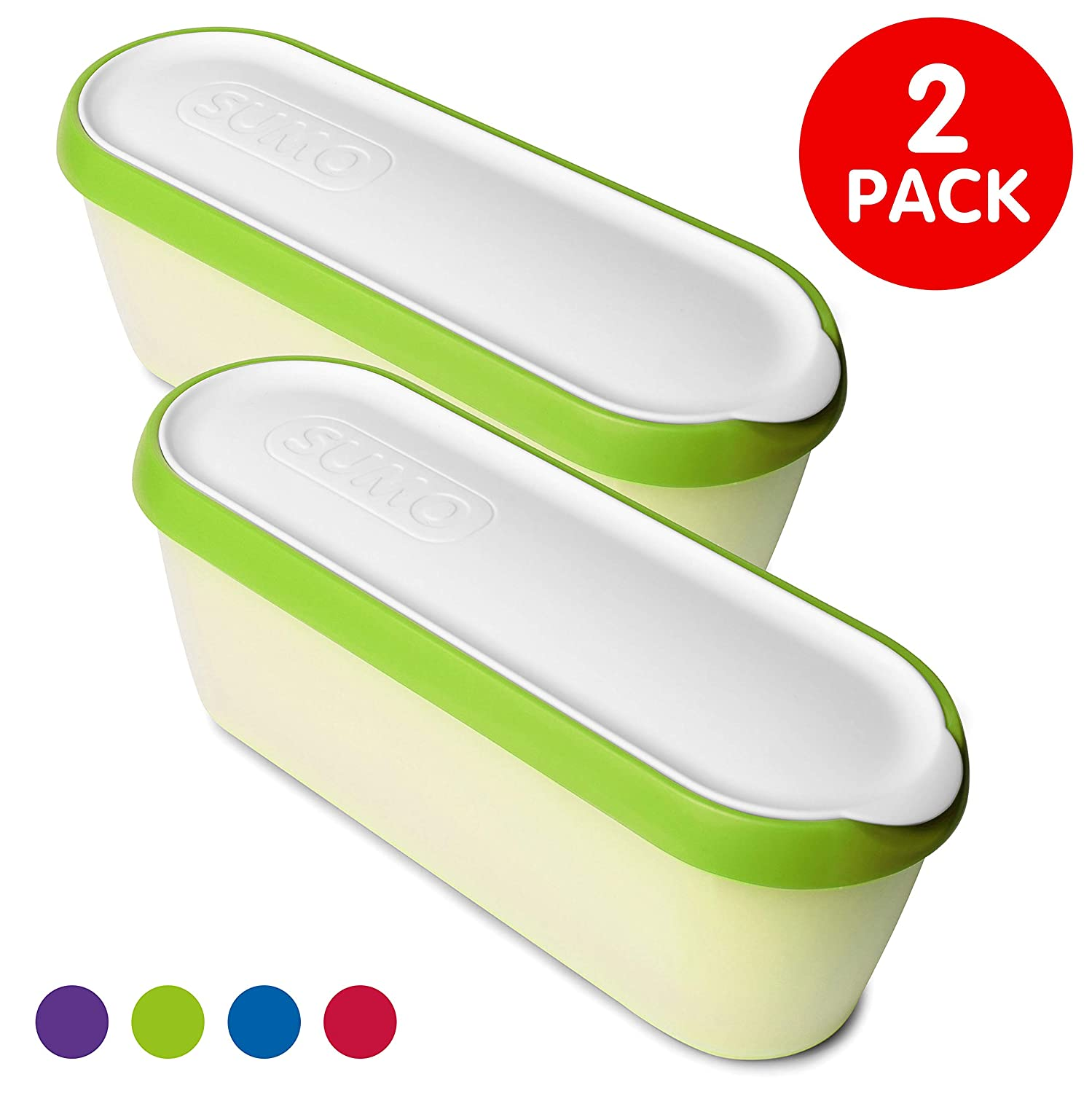 SUMO Ice Cream Containers: Insulated Ice Cream Tub for Homemade Ice-Cream, Gelato or Sorbet - Dishwasher Safe - 1.5 Quart Capacity [Green, 2-Pack]