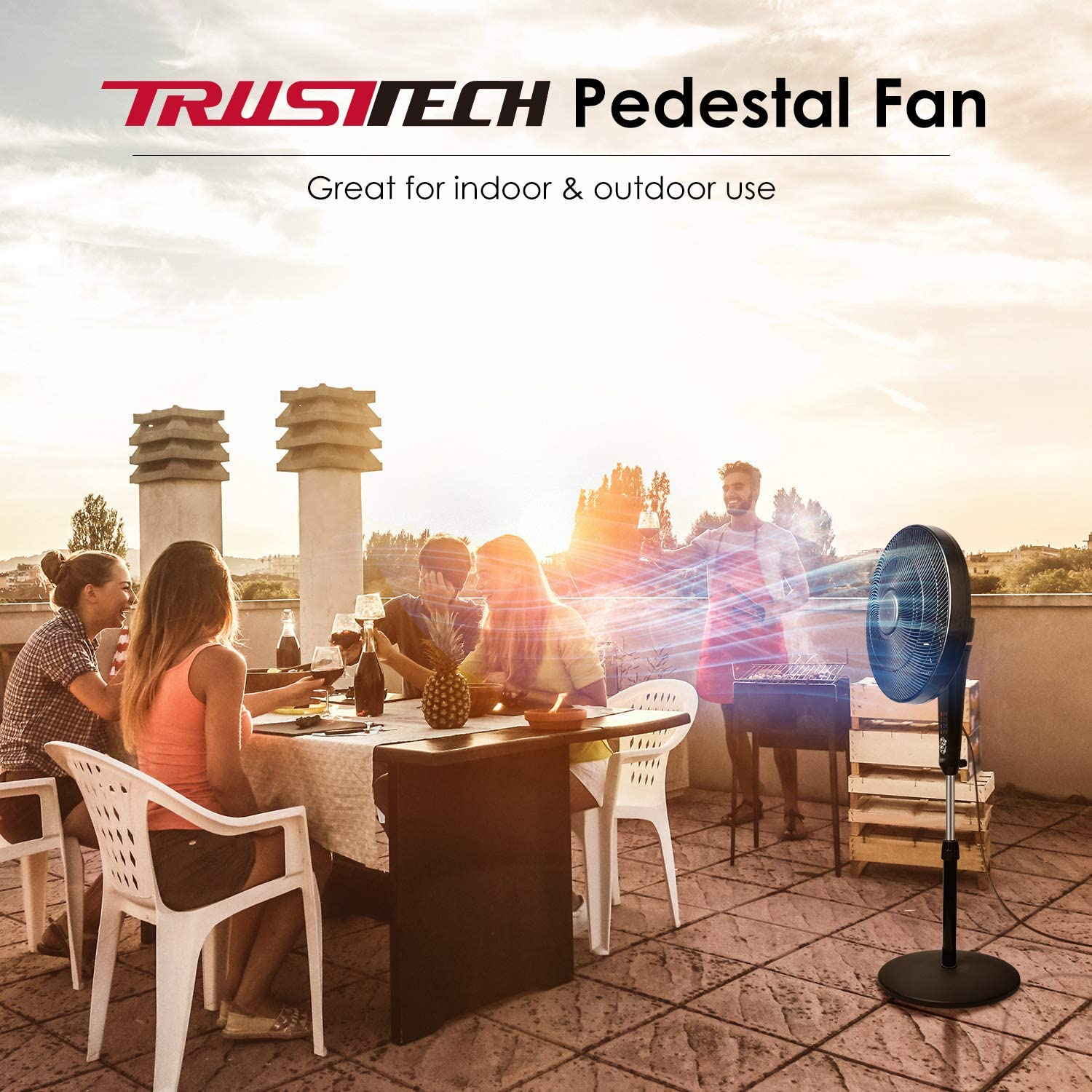 3 Modes Large Stand-Up Fan Adjustable Height /& Tilt Pedestal Fan Bedroom Outdoor Patio Timer Function Oscillating Standing Fan with Remote 2 in 1 Large Fan for Living Room Powerful 4 Speeds
