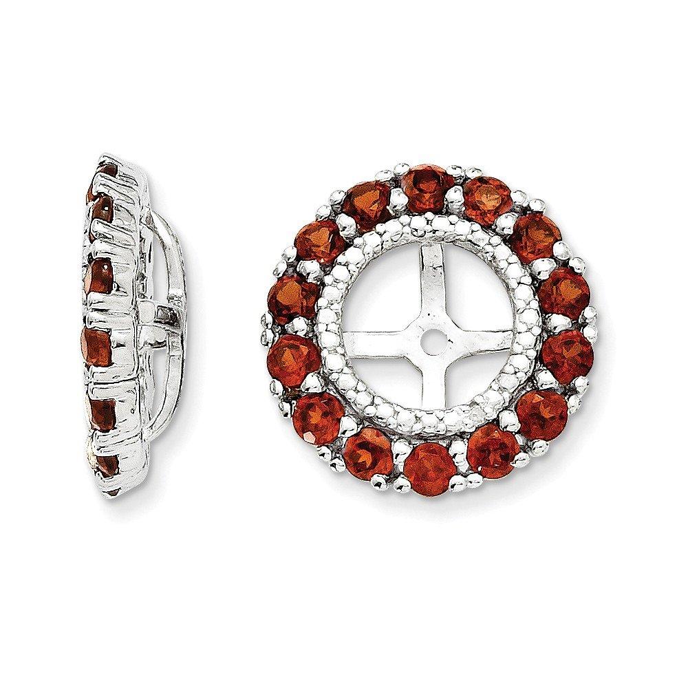 Sterling Silver Rhodium Diamond & Garnet Earring Jacket