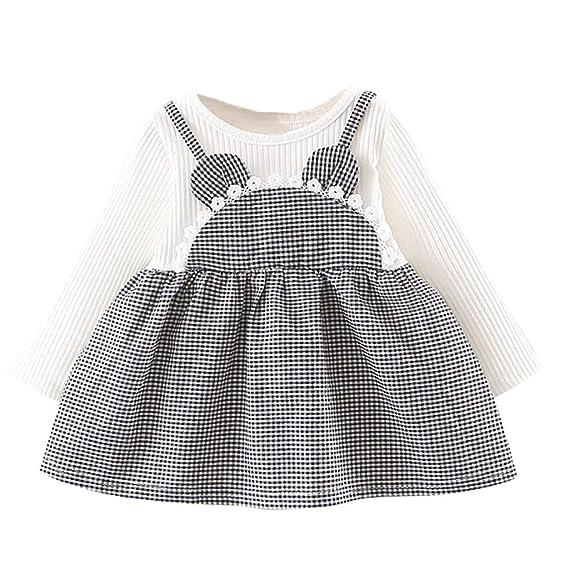 Vestido de Cuadros Niñas K-Youth Ropa Bebe Recién Nacido Niña Mini ...