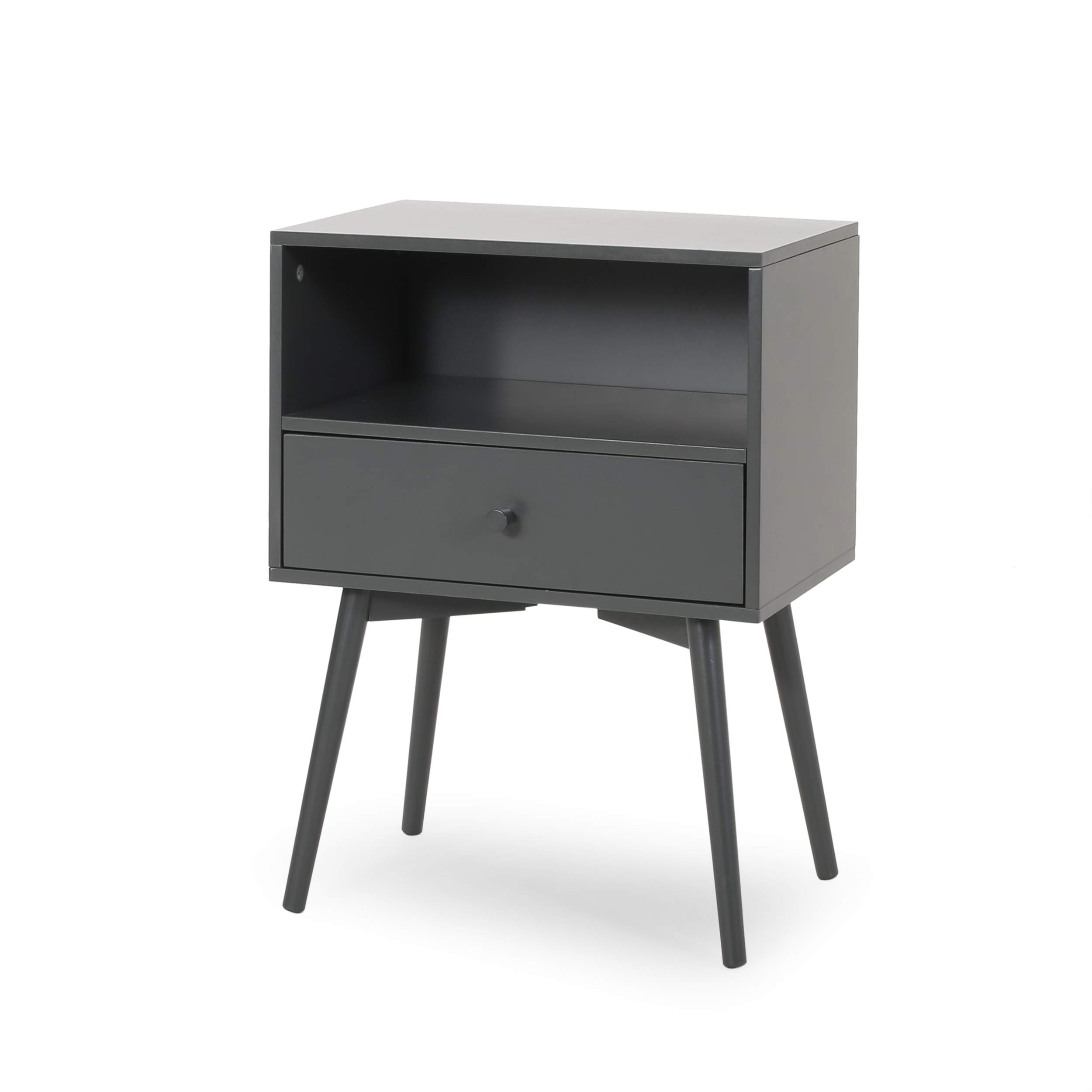 Alexis Mid-Century Modern Side Table, Dark Gray by Great Deal Furniture