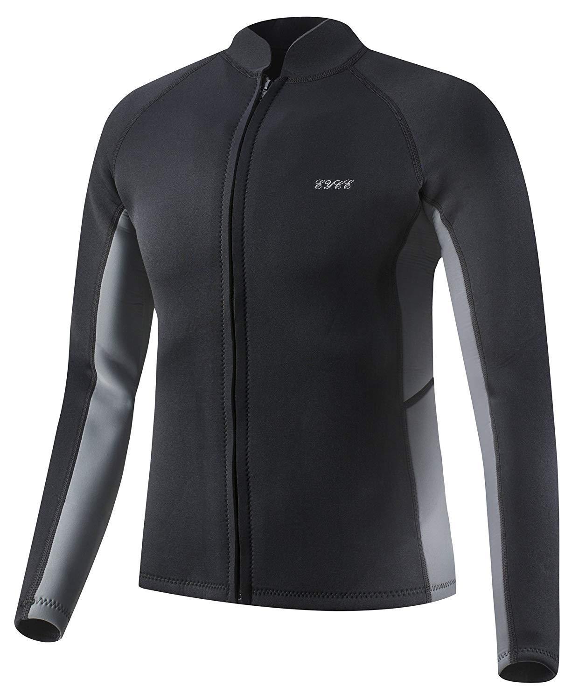 EYCE Dive & SAIL Men's 3mm Wetsuit Jacket Top Long Sleeve Neoprene Wetsuits (Black/Grey, Small)