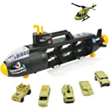 Toy Submarine Shark Military Vehicle Carrier, Early Educational Toy for Kids, iPlay, iLearn, 7pc Set with 6 Vehicles