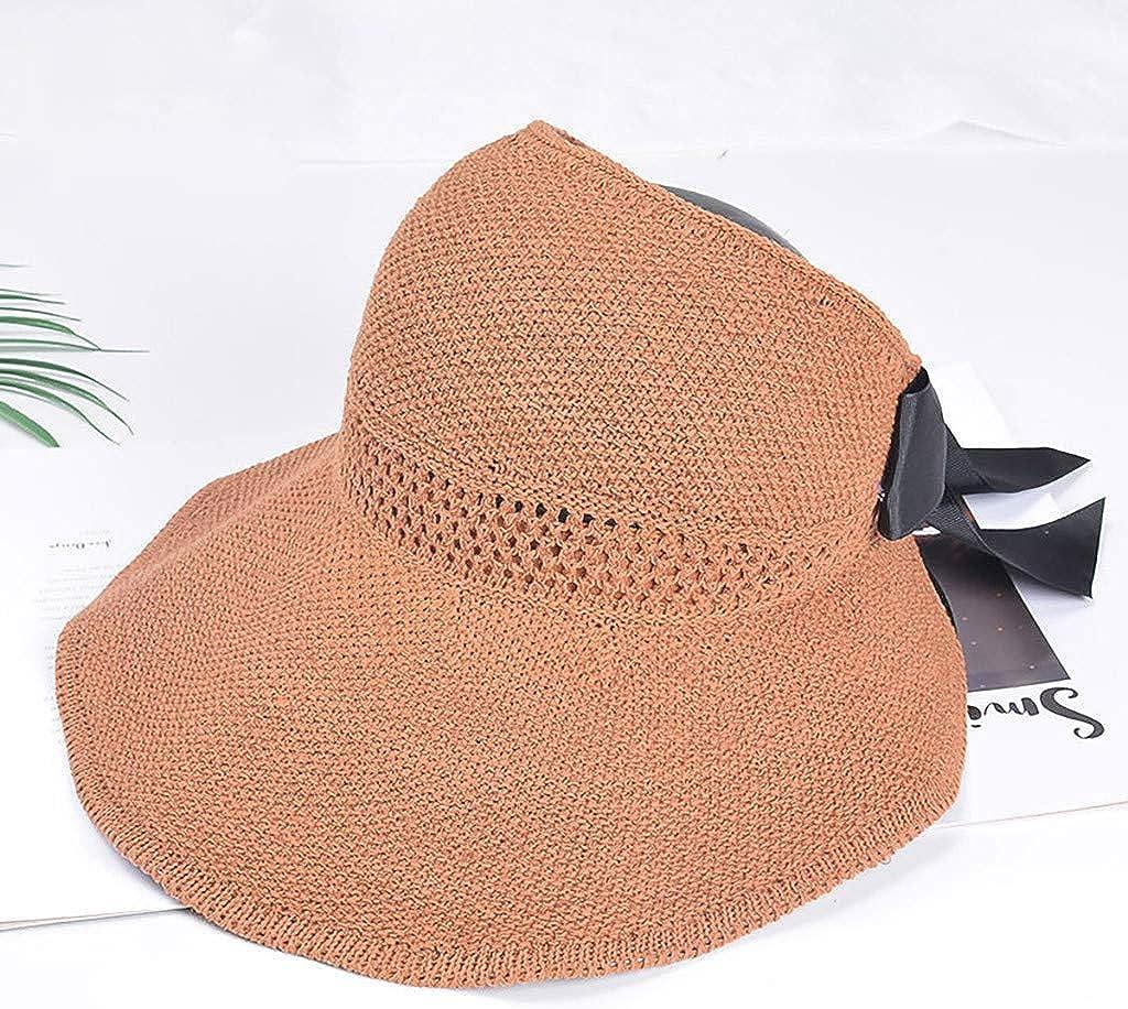 FRAUIT Sonnenhut Damen Faltbarer Strand Sommerhut Strohhut Fr/ühling und Sommer Urlaub Fischerhut Des Einfarbigen Hutes im Freien