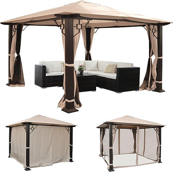 Mendler Pérgola Mira, cenador de jardín, 12 cm, estructura de aluminio de lujo con pared lateral + mosquitera ~ 3,5 x 3,5 m