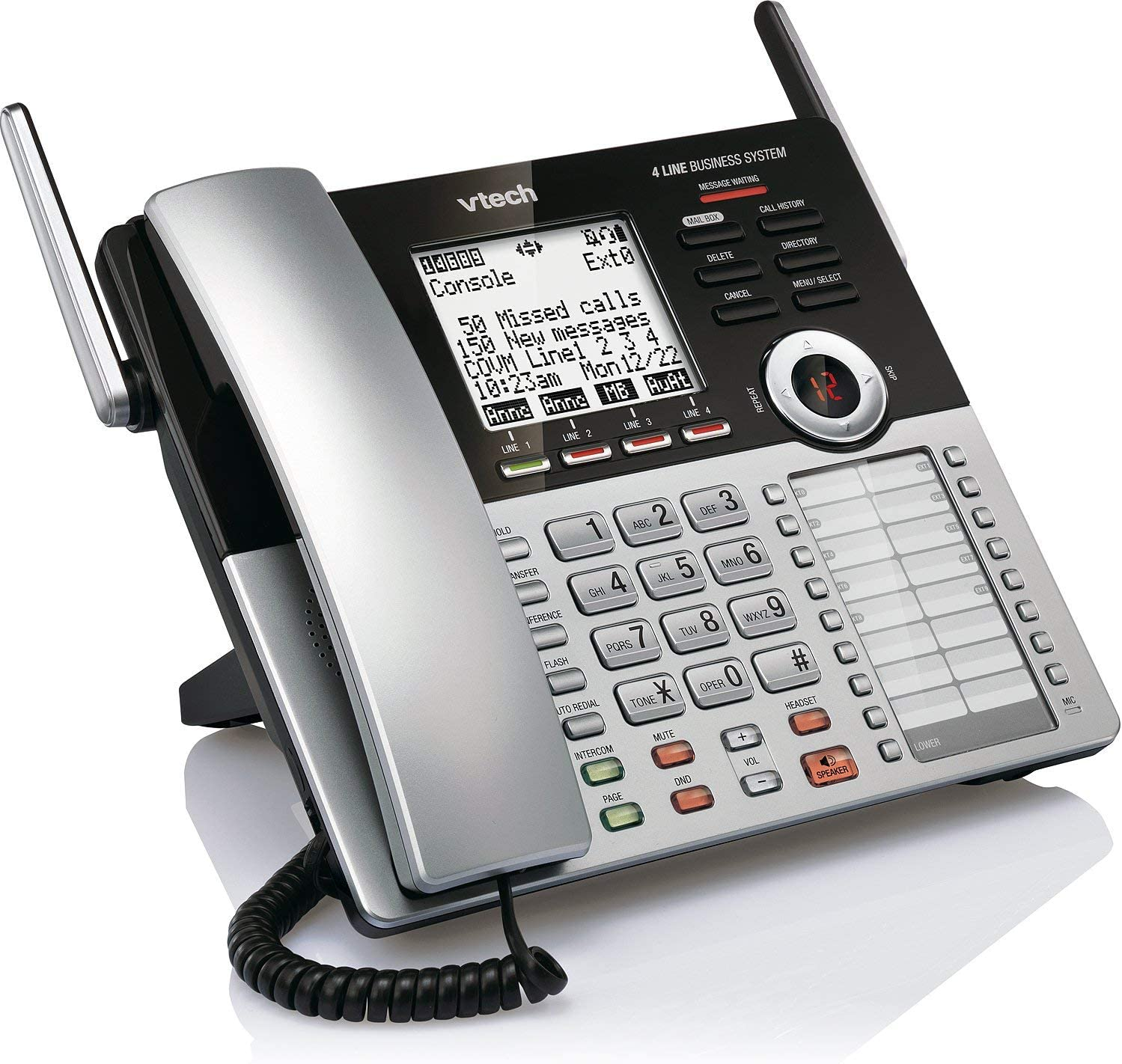 VTech CM18445 Main Console - DECT 6.0 4-Line Expandable Small Business Office Phone with Answering System (Renewed)