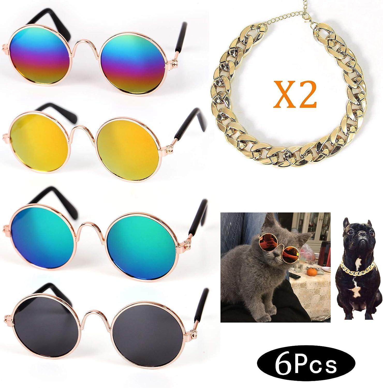 Crazy Genie Divertidas Gafas de Sol para Mascotas y Collar de Cadena de Oro, Collar de Perro Gato, Accesorios de Fotos para Fotos de Mascotas (6 Unidades)