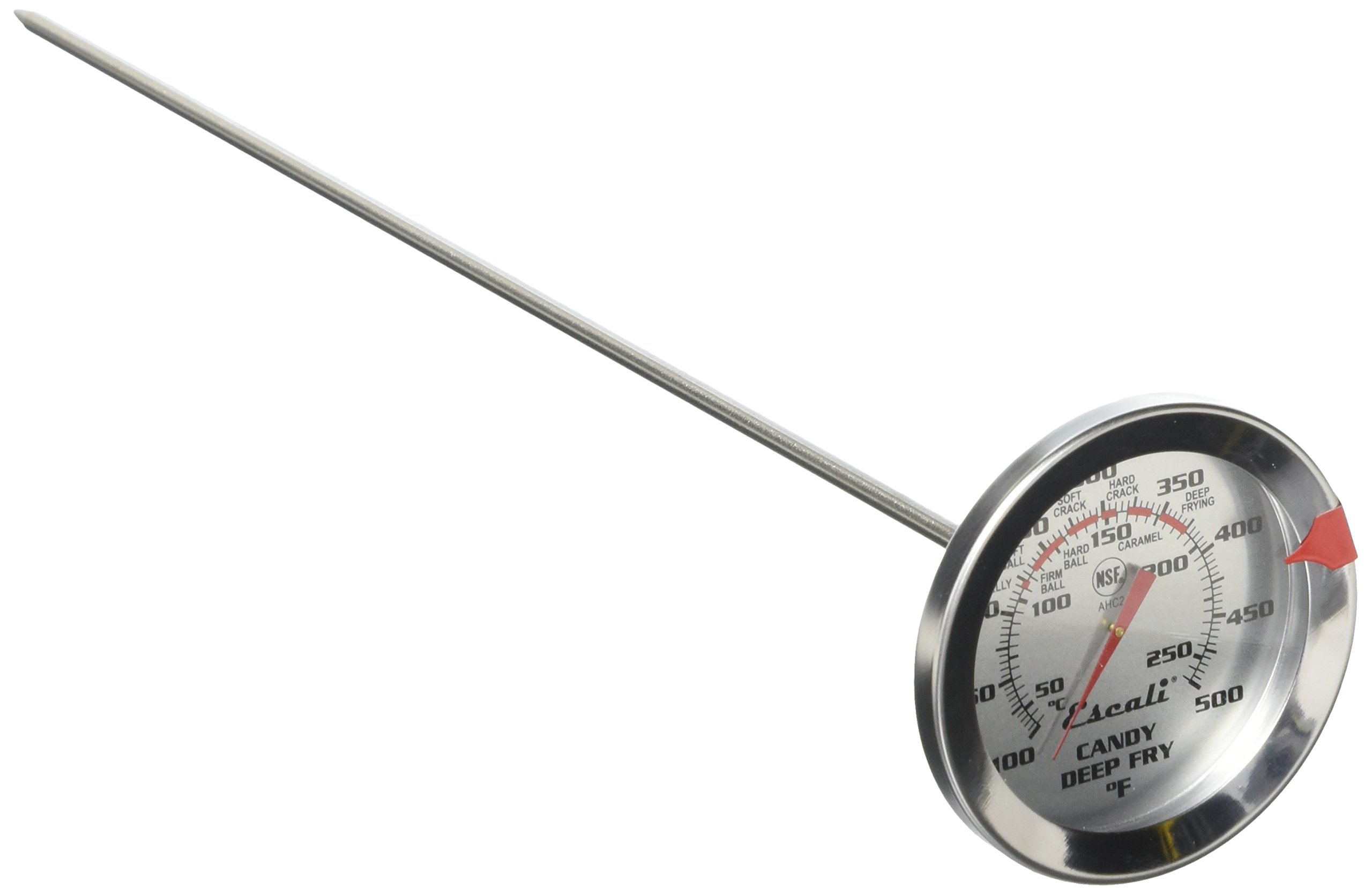 Escali AHC2 NSF Listed Candy/Deep Fry Thermometer with 12'' Probe, Silver