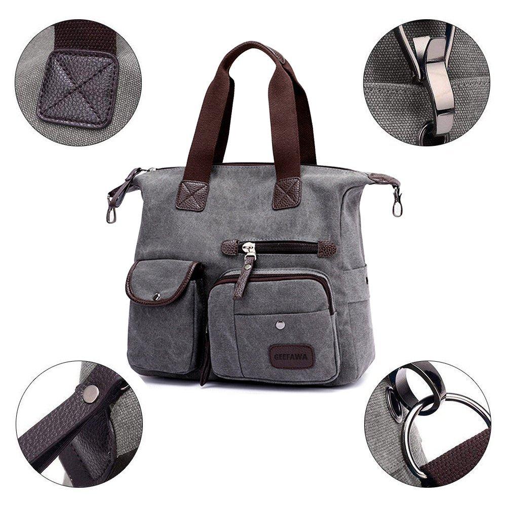 Women's Canvas Tote Bag Top Handle Bags Shoulder Handbag Tote Shopper Handbag crossbody bags (Gray) by Greatbuy-US (Image #4)