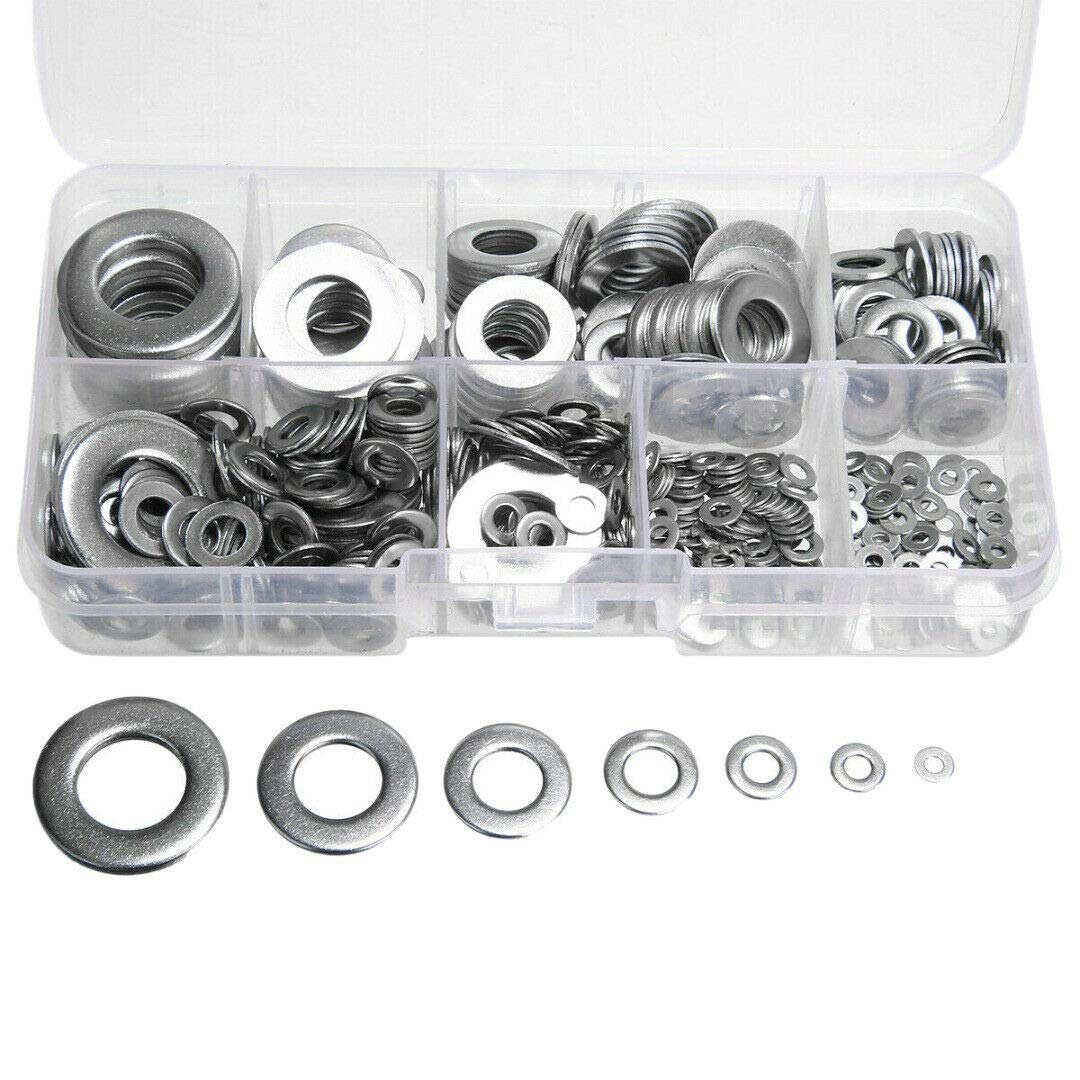 MeterMall 580pcs 304 Stainless Steel Flat Washers Kit for M2 M2.5 M3 M4 M5 M6 M8 M10 M12 Box Packing