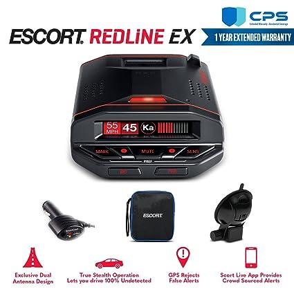 Amazon.com: Escort Redline EX Radar Detector 0100030-1 with Bluetooth, GPS & Camera Database + CPS Extended Warranty - Starter Bundle: Car Electronics