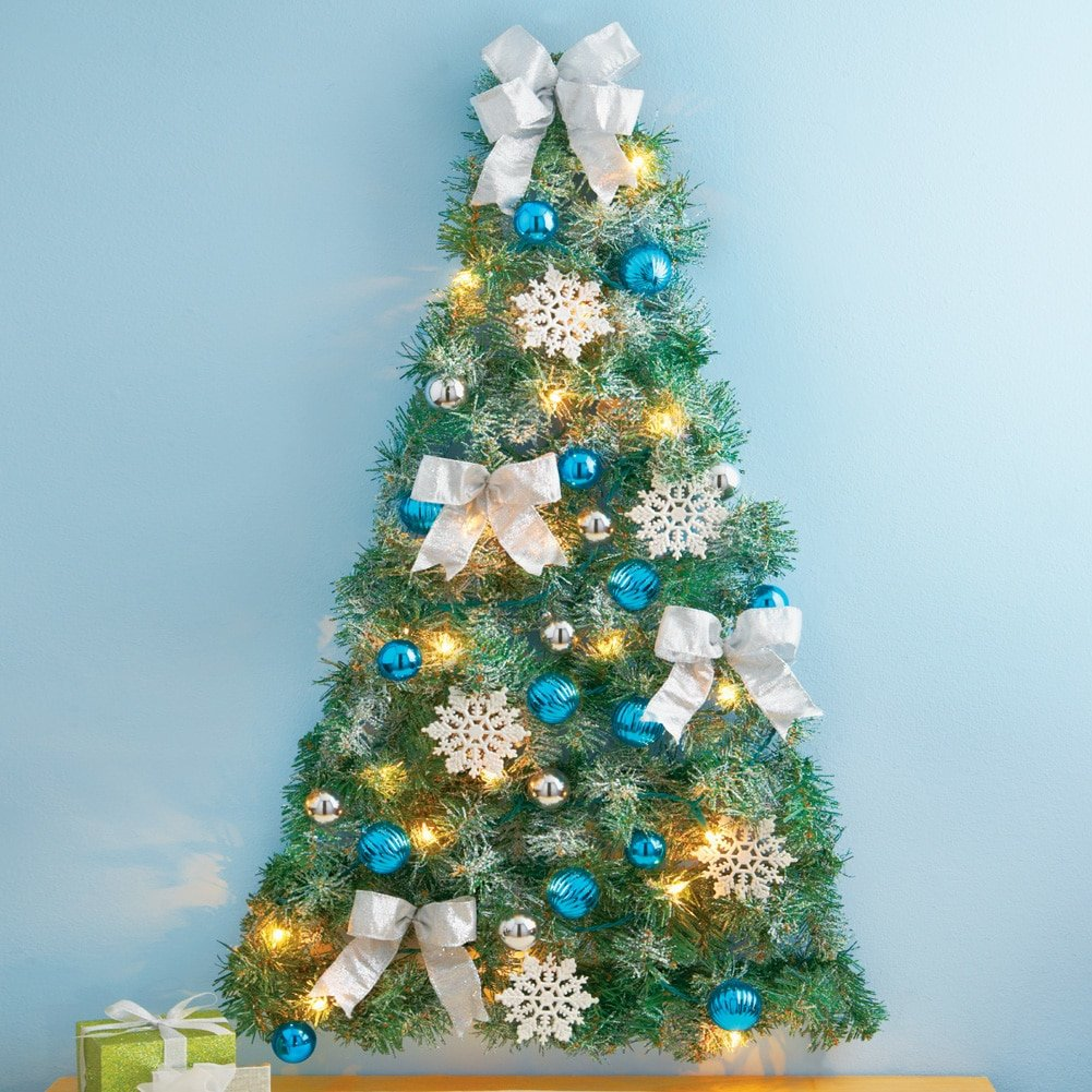 Amazon.com: Frosted Blue and Silver Christmas Wall Tree: Home & Kitchen