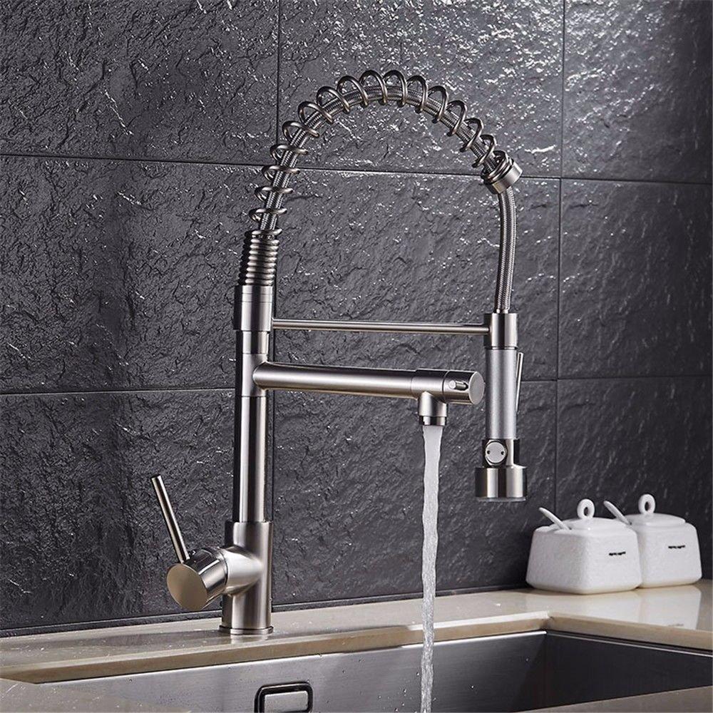 MMFHP Waschbecken Wasserhahn Nickel gebürstet Frühling Küche Pull-Out Teleskop warm und kalt Wasserhahn