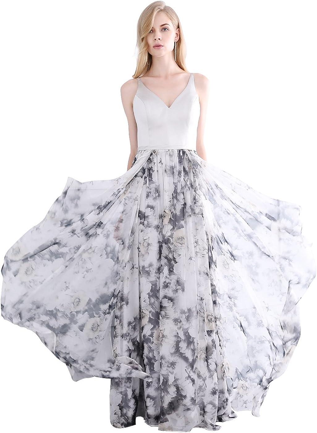 NaXY Damen A-Linie Abendkleid Lang Chiffon Maxi Kleid Abendkleid