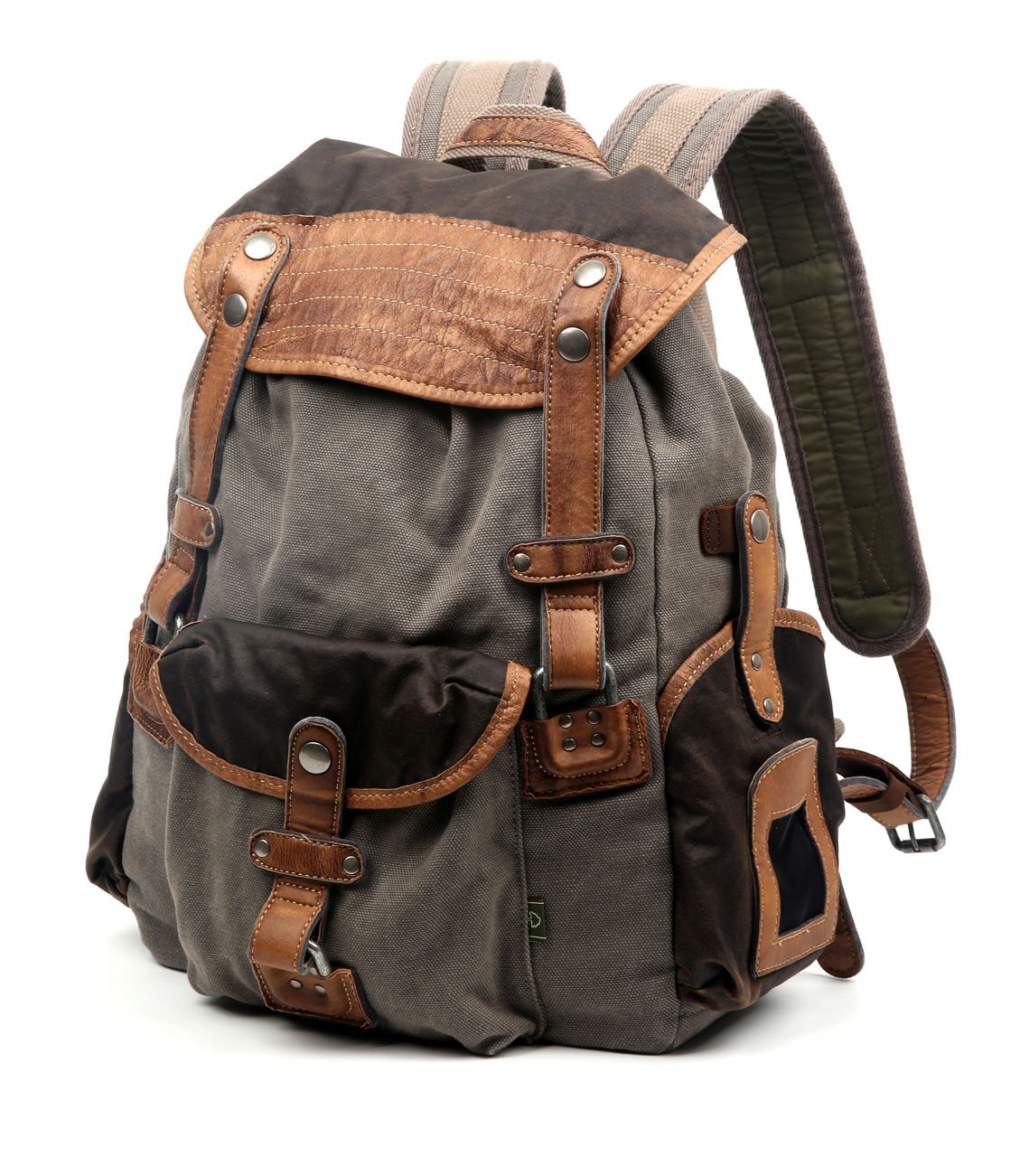 The Same Direction Tapa Two Tone Canvas Backpack Leather and Canvas Bag (Grey) by The Same Direction (Image #2)
