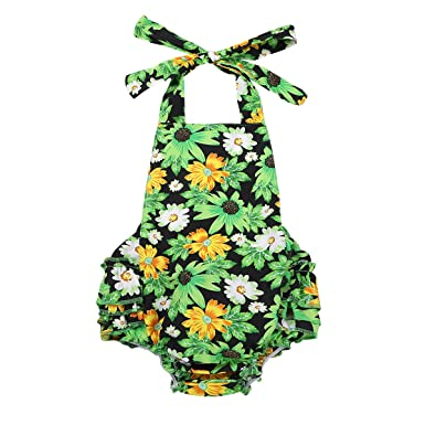 0f518464a iEFiEL Infant Baby Girls Ruffle Bubble One-Piece Romper Floral ...
