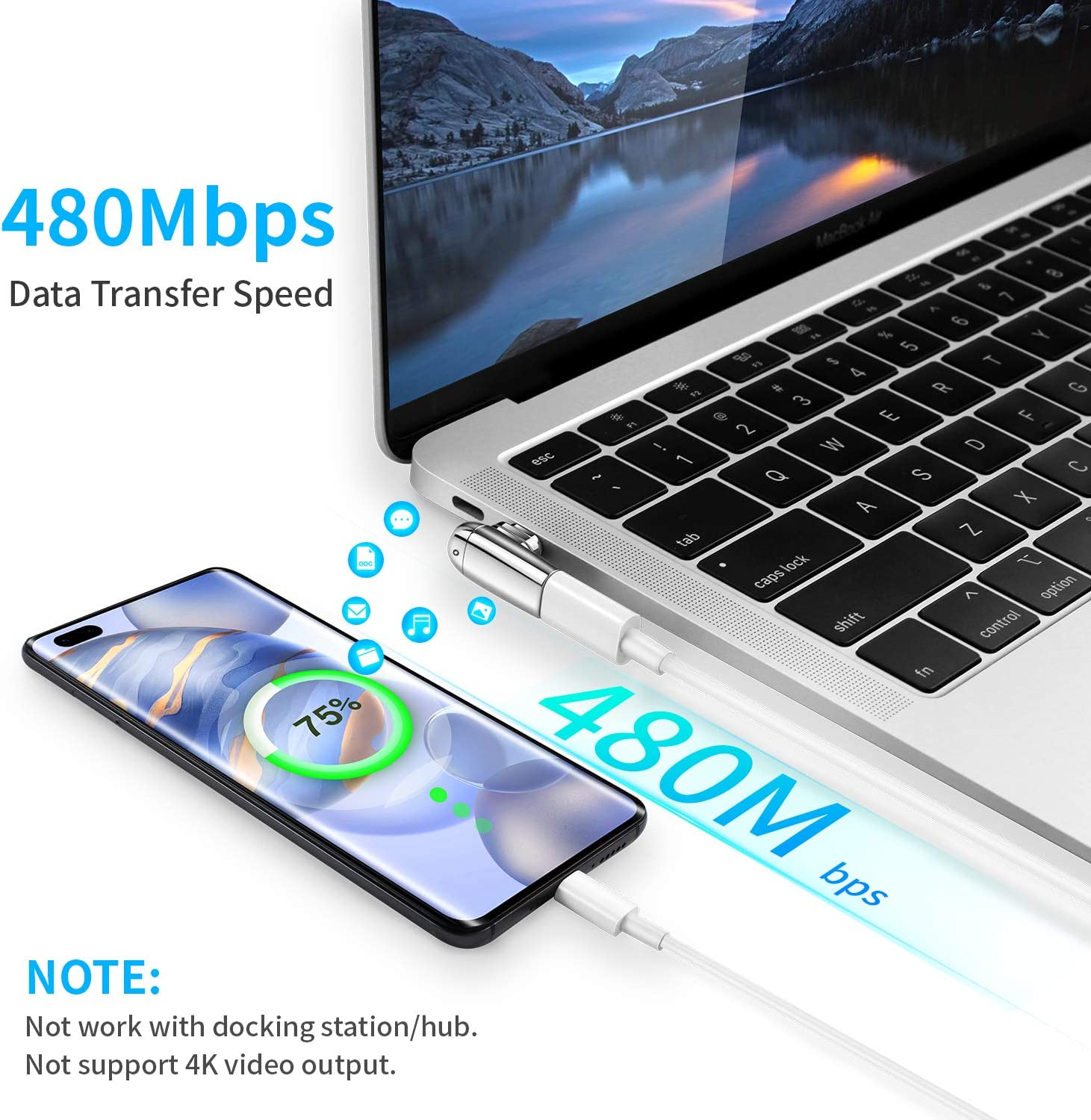 USB C Magnetic Adapter iSkey 9 Pins Magnetic USB C Adapter Support USB PD 100W Quick Charge and 480Mb//s Data Transfer Compatible with MacBook Pro//Air 2019 iPad Pro and More USB Type C Devices