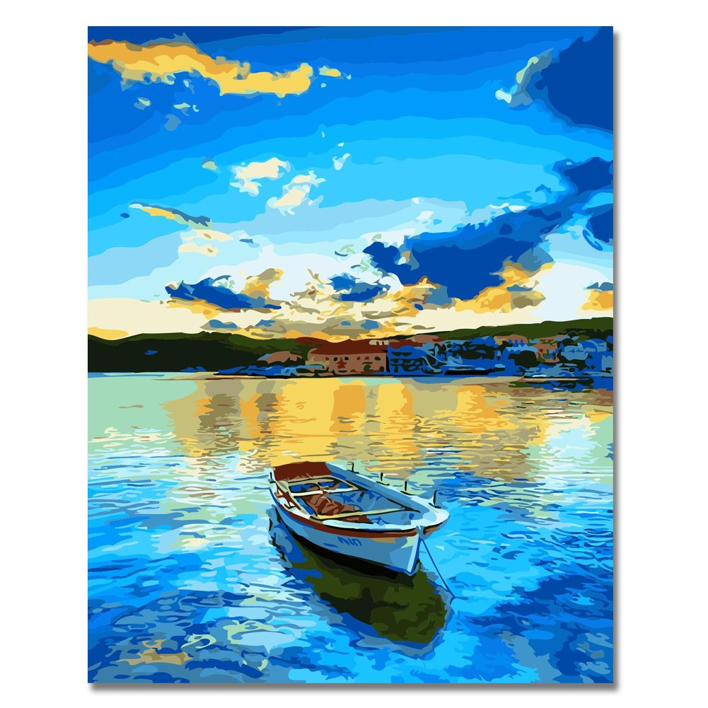 Rihe DIY Oil Painting Paint By Numbers Kits Mounted on Wood Frame with Brushes Acrylics Painting Kits on Canvas for Adults Kids Beginner - Lakeside Village 16x20 Inch(Wooden framed)