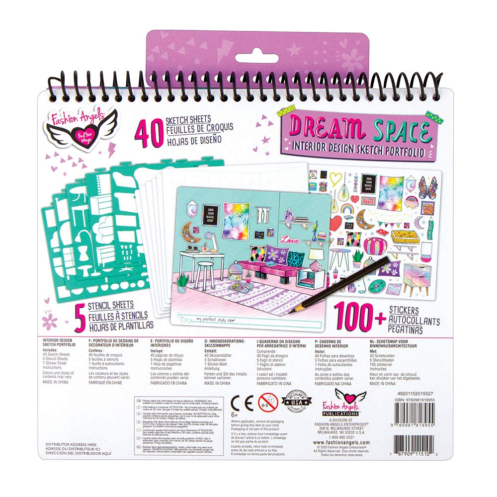 Coloring /& Activity Book Fashion Angels Interior Design Sketch Portfolio Full Size Sketch Book