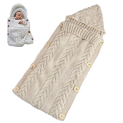 FOONEE pour Poussette Sac de Couchage Nid dange b/éb/é Enfants en Tricot Couverture Poussette Gigoteuse demmaillotage pour 0 6/Mois b/éb/é