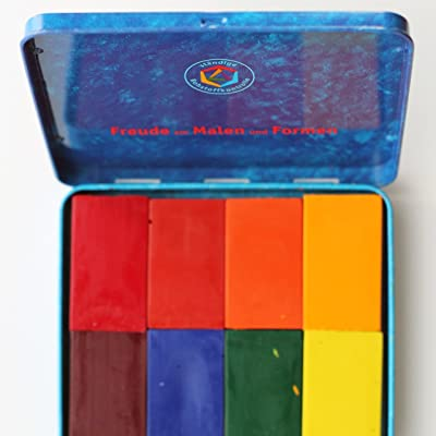 Stockmar Beeswax Block Crayons,8 Assorted Waldorf Colors in Tin: Office Products