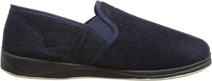 Padders ALBERT Mens Corduroy Wide G Textile Memory Foam Comfy Full Slippers Navy