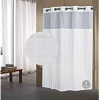 Fabritones Shower Curtain with Snap in Liner Grommet Hook Less Herringbone Pattern Waterproof 71x77 Inch