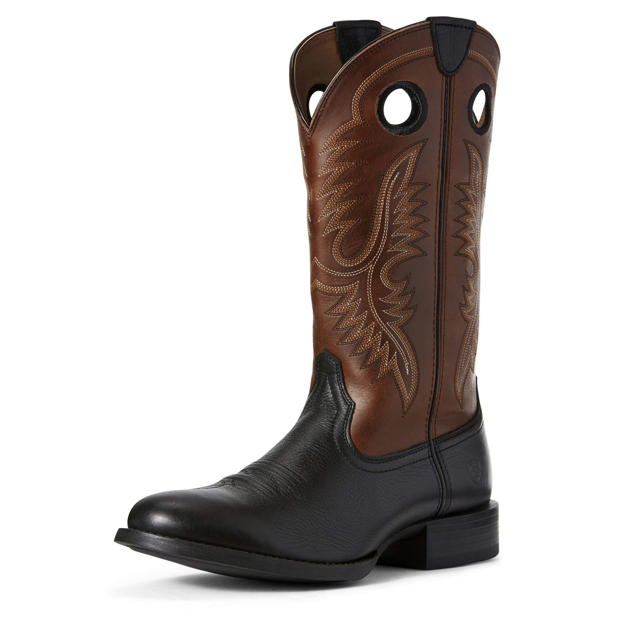 Ariat Men's Sport Big Hoss Western Boot, Black Carbon/Mayan Brown, 11EE by ARIAT