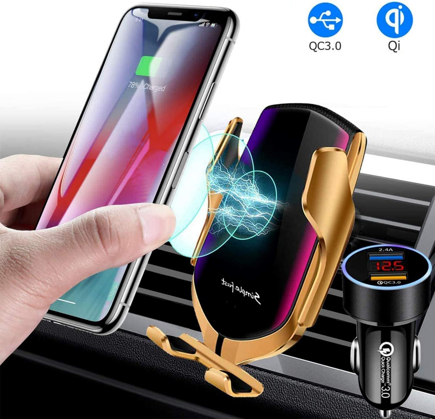Gold Smart Sensor Wireless Car Charger Mount Samsung Galaxy S10//S9// S9+//S8 Note10//9 Automatic Clamping QI 10W//7.5W Fast Charging Car Charger Holder Compatible with iPhone 11//Xs//Xs Max//XR//8 etc