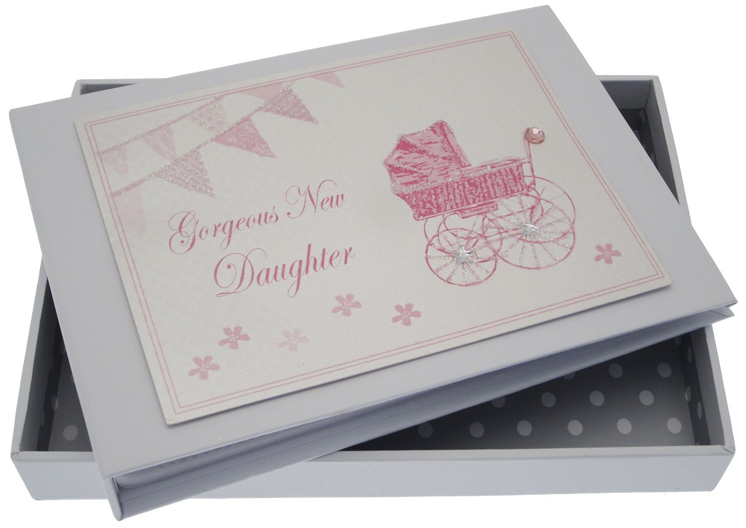 White Cotton Cards New Daughter Tiny Album (Pink Pram and Bunting) PR2