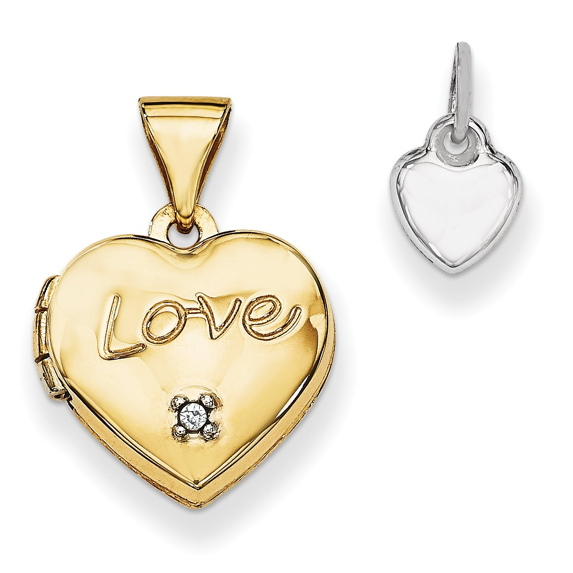 ICE CARATS 14k Yellow Gold Two Tone 12mm Heart Diamond Locket Pendant Charm Necklace Fine Jewelry Gift Set For Women Heart