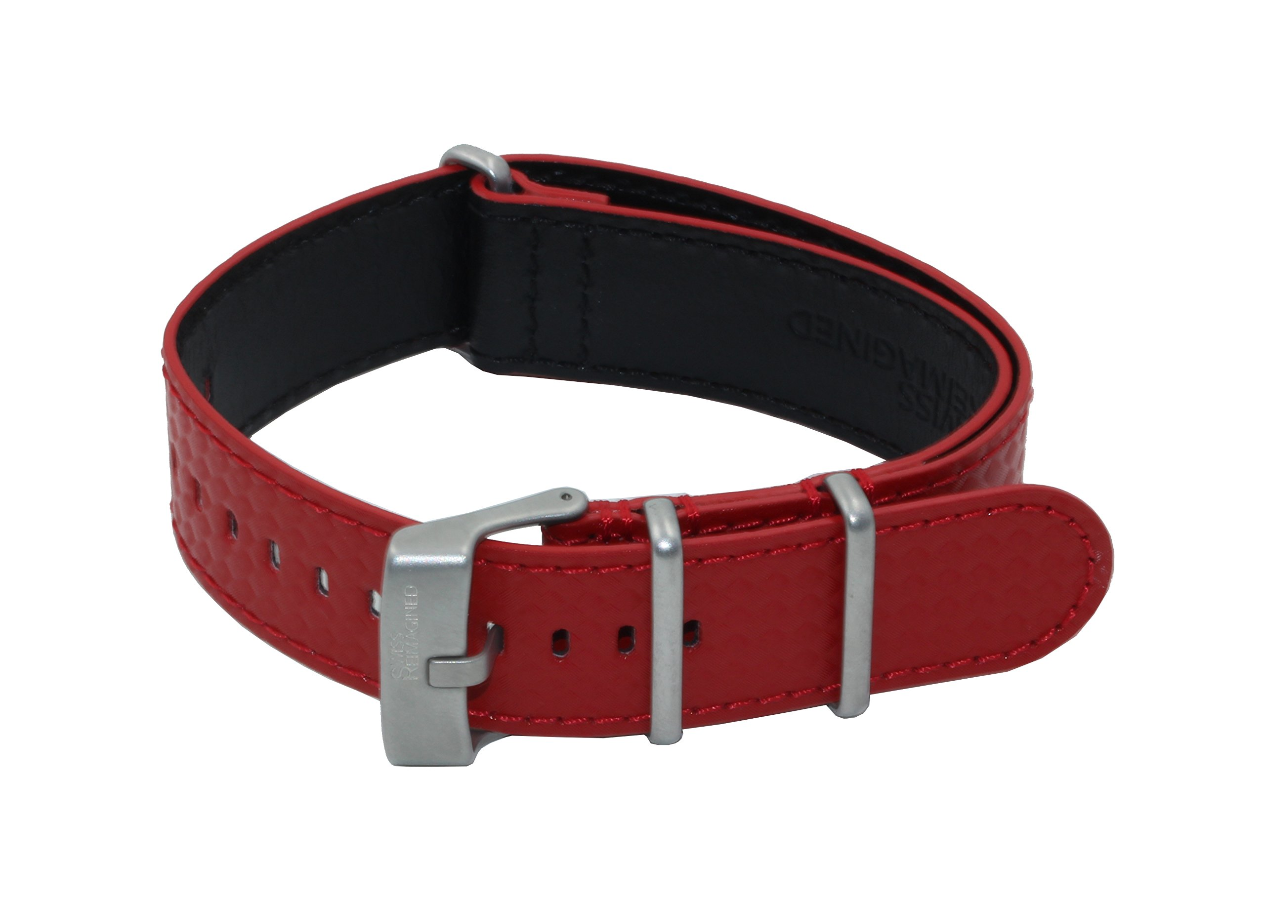 SWISS REIMAGINED Quality Genuine Leather NATO Replacement Carbon Watch Band Strap - Red by Swiss Reimagined (Image #1)