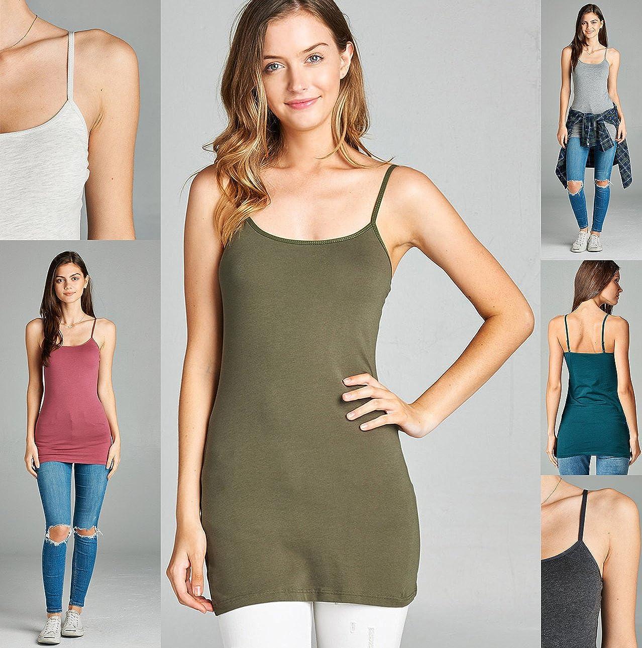 04e5a3f904201 Amazon.com  Emmalise Women s Basic Casual Long Camisole Cami Top Regular  and Plus Sizes  Clothing
