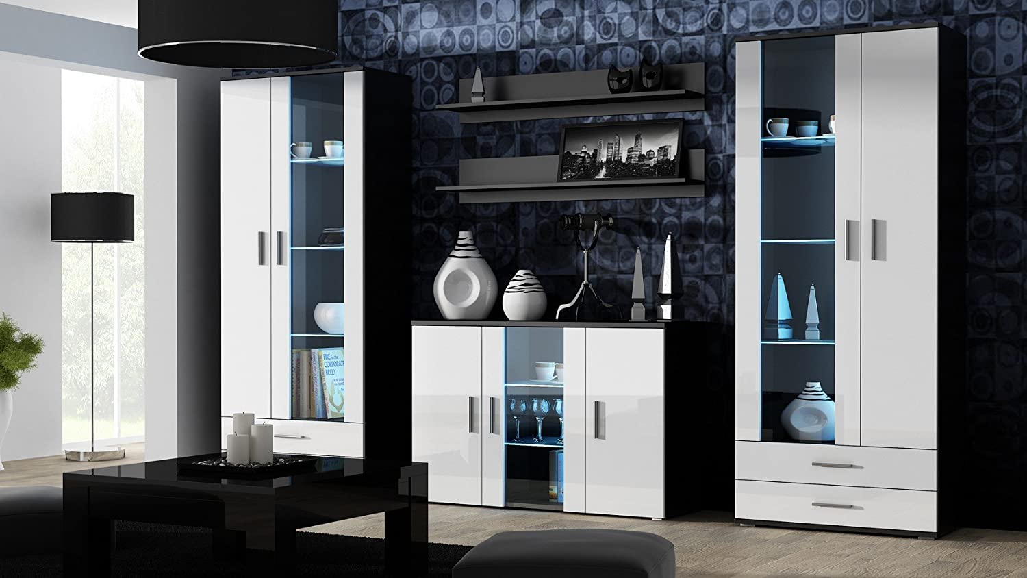 wohnwand soho anbauwand wohnzimmer m bel hochglanz vitrine kommode tv schrank korpus schwarz. Black Bedroom Furniture Sets. Home Design Ideas