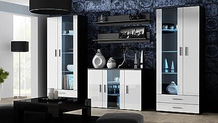 Wohnwand SOHO Anbauwand Wohnzimmer Möbel Hochglanz Vitrine Kommode Tv  Schrank (Korpus: Schwarz Matt Front: Weiß Hochglanz)
