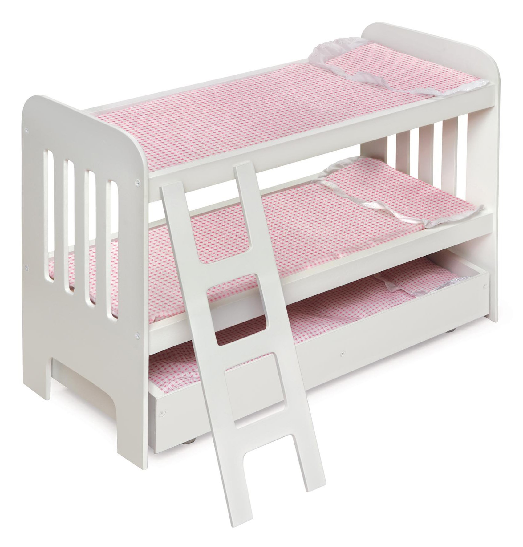 Trundle Doll Bunk Bed with Bedding, Ladder, and Free Personalization Kit (fits American Girl Dolls) by Badger Basket