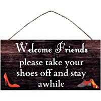 """BESTWD Rustic Wood Sign Wall Hanging Plaque Vintage Take Off Shoes Wall Sign Size 10"""" x5"""""""