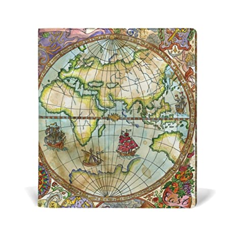 Amazon my daily vintage world map reusable leather book cover my daily vintage world map reusable leather book cover 9 x 11 inch for medium to gumiabroncs Images