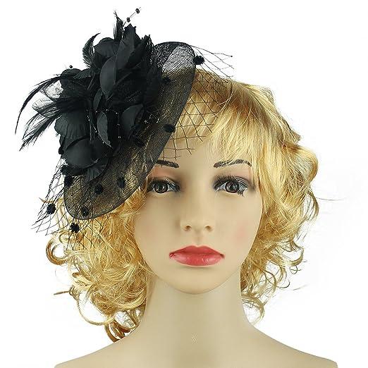 fa803f4199c HOLDOOR Feather Fascinators Big Flower Fascinator Pillbox Hat Headband Clip  for Wedding Derby Party Black
