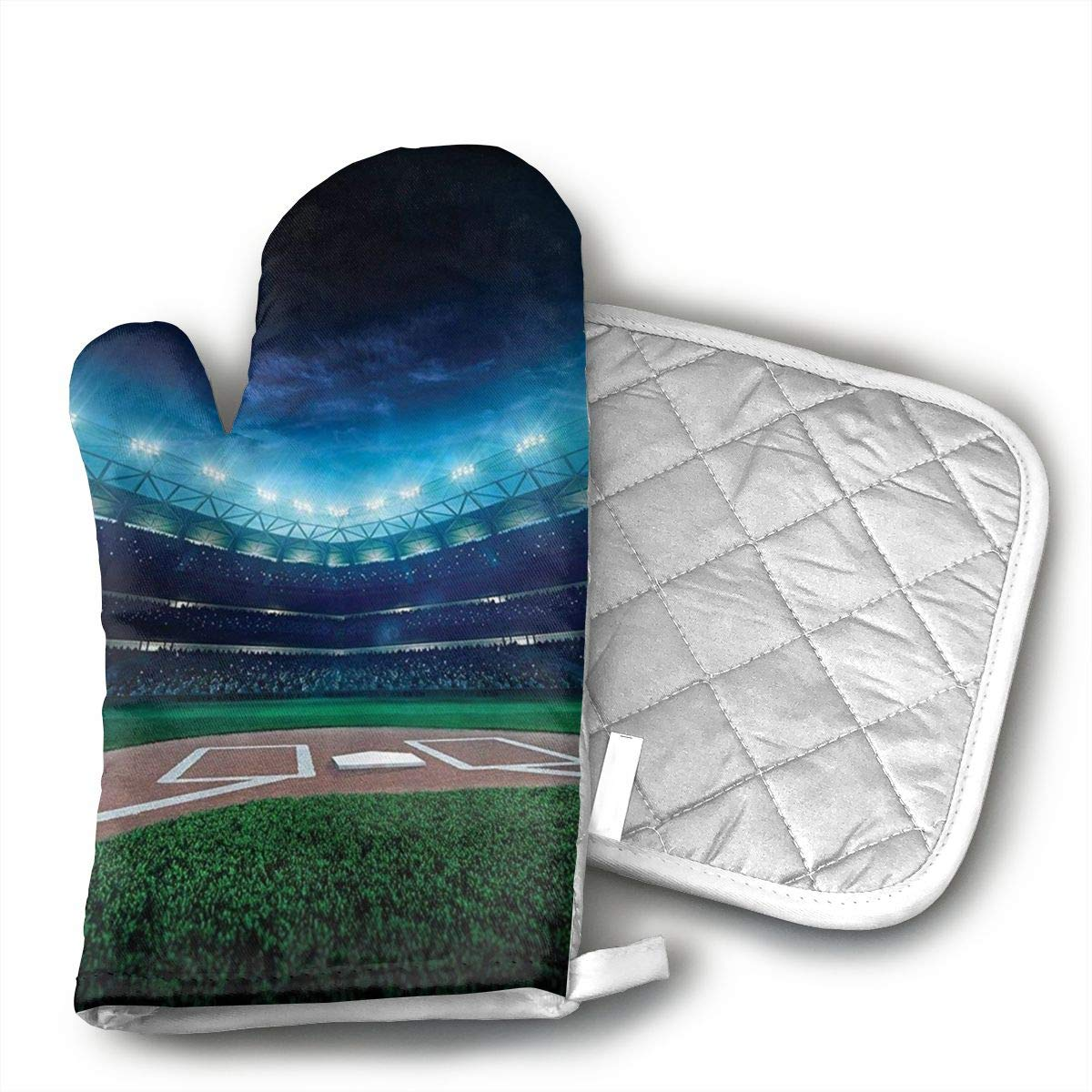 Wiqo9 Professional Baseball Field at Night with Spotlights Playground Stadium League Theme Oven Mitts and Pot Holders Kitchen Mitten Cooking Gloves,Cooking, Baking, BBQ.