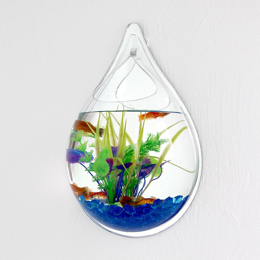 Waterdrop Shape Creative Acrylic Hanging Wall Mount Fish Tank Bowl Vase Aquarium Plant Pot Fish Bubble Aquarium Decor for Home and Office