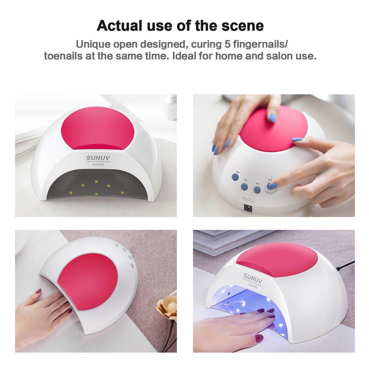 Gel UV Nail Lamp, SUNUV 48W UV LED Nail Dryer Light for Gel Nails Polish Manicure Professional Salon Curing Lamp with 4 Timer Setting Sensor SUN2C(one pink pad)