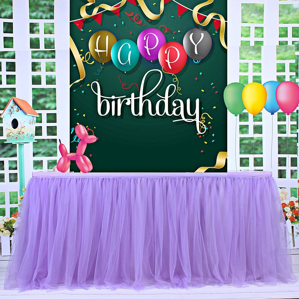 KIXIGO Tulle Table Skirt Tableware Table Cloth,Tutu Table Skirting For Party,Wedding,Birthday Party&Home Decoration,High-end Gold Brim 3 Layer Mesh Fluffy (Purple, L 14(ft) H 30in) by KIXIGO