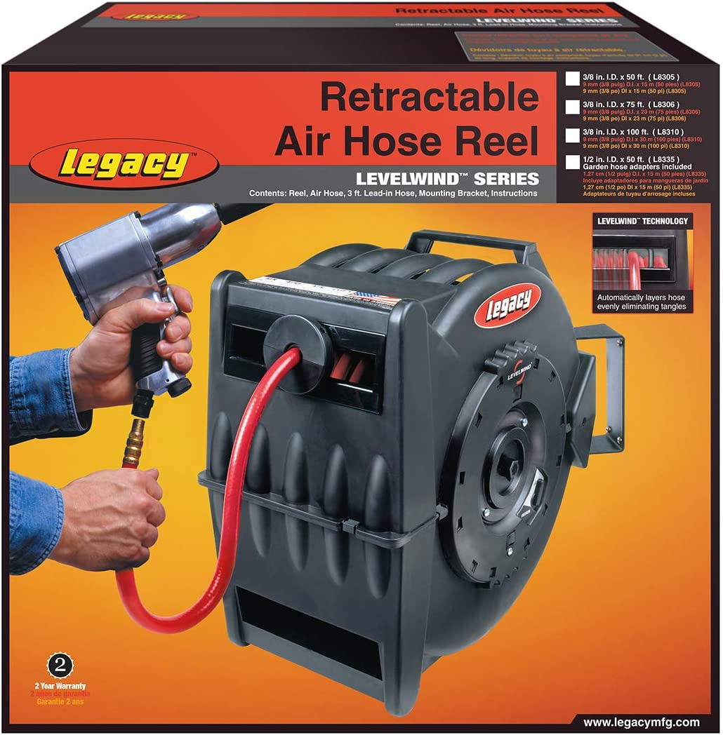"""Levelwind Retractable Hose Reel for Air with 3//8/"""" ID and 50/' Hose LEGL8305 New!"""