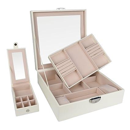 Amazoncom Goldwheat Jewelry Box Case PU Leather Travel Jewelry