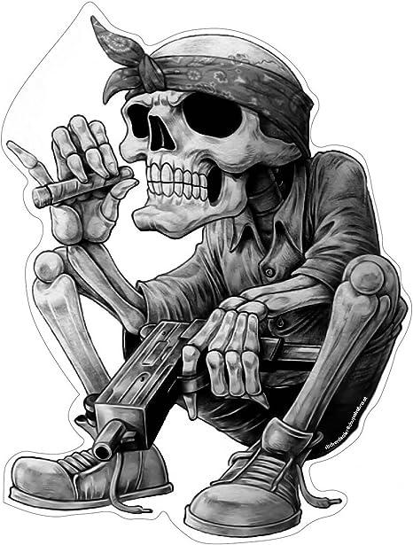 Stickerdealer Chupacabra Gangster Hip Hop Aufkleber Sticker Rap Musik Skelett Skull Schädel Rapper Cool Bandana Zigarre Ca 13x10 Cm Auto