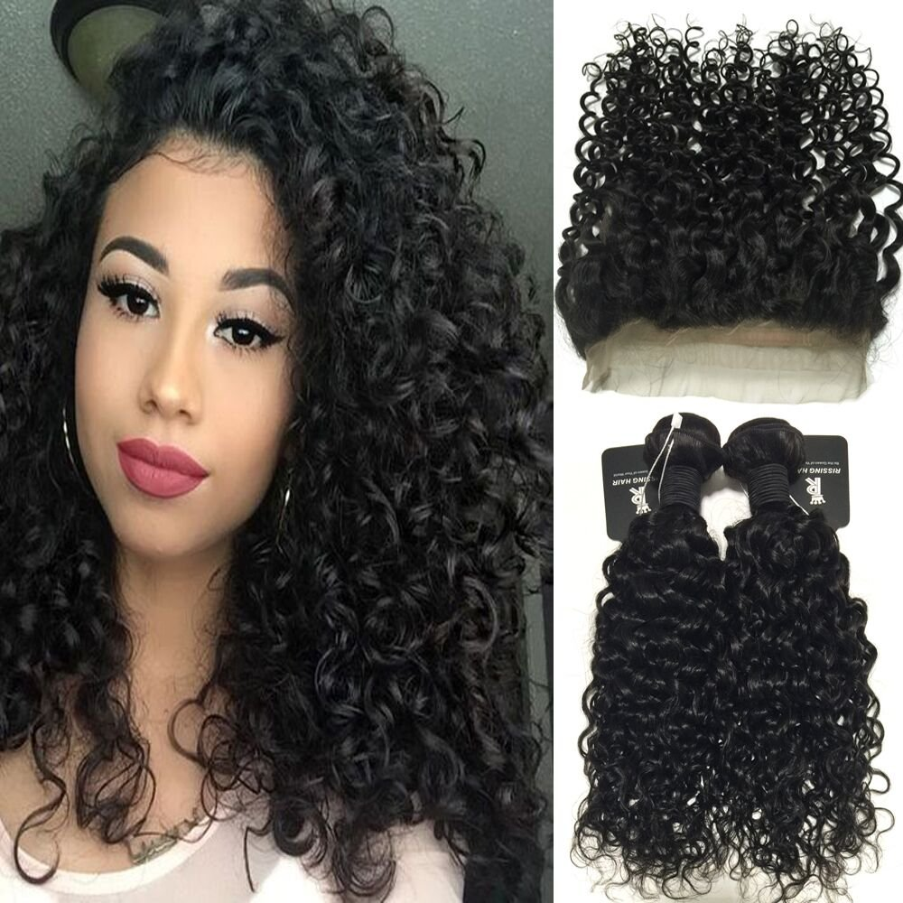 "RISSING 360 Frontal with 2 Bundles Deep Curly Hair, Brazilian Curly Hair Bundles Deals Remy Human Hair Extensions Free Part 8A Soft Thick (16""18"" & 14"" )"