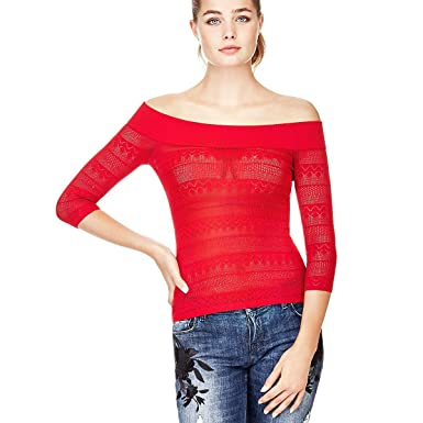 Guess Vêtements Femme PULL COL BATEAU Rouge 63%VISCOSE 37