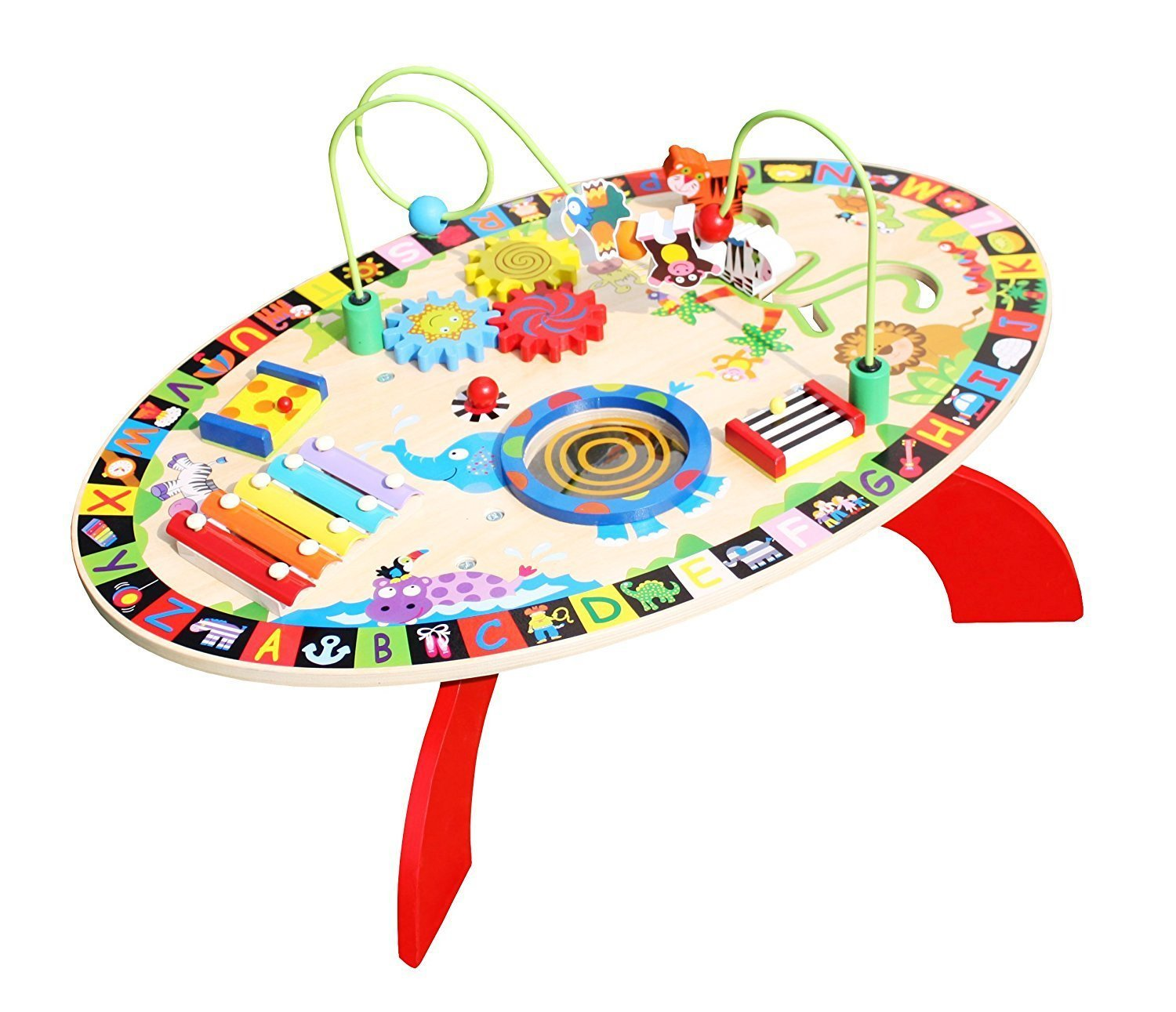 Amazon.com: Pidoko Kids All In 1 Multi Activity Learning Center   Wooden  Play Table For Toddlers Preschool Age   Multifunctional Baby Educational  Toy With ...