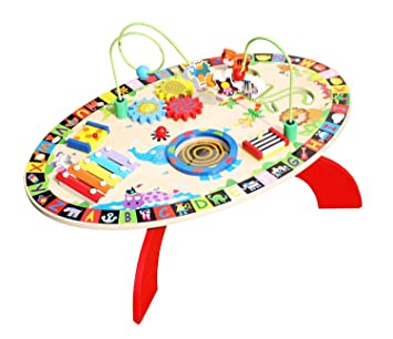Pidoko Kids All In 1 Multi Activity Learning Center   Wooden Play Table